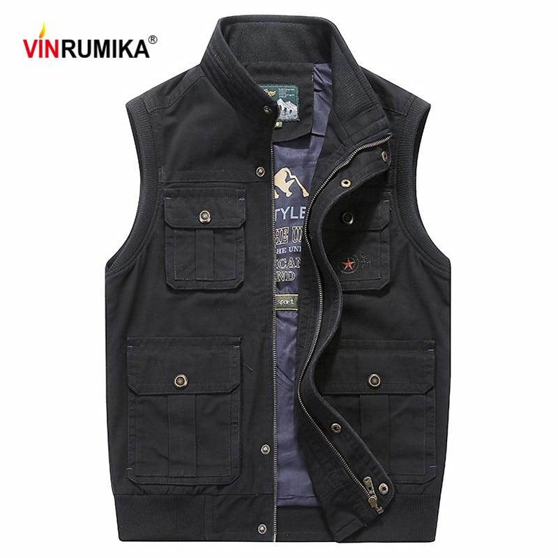 New 2020 Super Big Size M-8XL Men's Autumn 100% Cotton Army Green Vest Coat Man Spring Casual Brand Khaki Waistcoat Vests Jacket