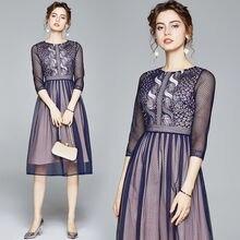 Женское Сетчатое платье с вышивкой zuoman элегантное винтажное