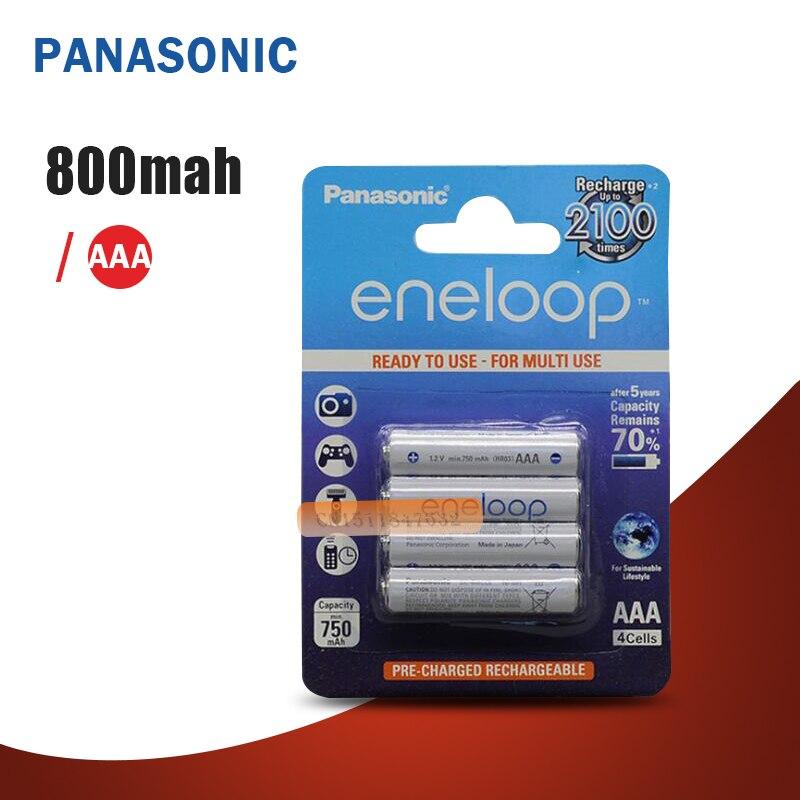 Panasonic – batterie dorigine Eneloop Pro, AAA 800mAh, 1.2V, NI-MH, pour appareil photo, jouet, lampe torche, Batteries préchargées, rechargeables, chargeur