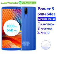 "LEAGOO الطاقة 5 الهاتف الذكي 5.99 ""FHD + 18:9 RAM 6GB ROM 64GB الروبوت 8.1 MT6763 الثماني النواة 7000mah المزدوج الخلفية الحدب 4G الهاتف المحمول"