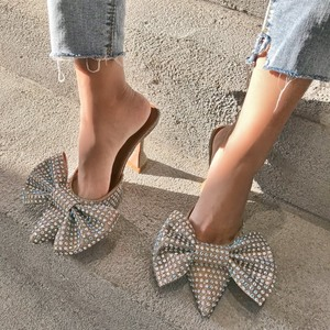 Europe and the United States Super Flash Bow Rhinestone Shiny Wine Glass with High Heel Women's Slippers