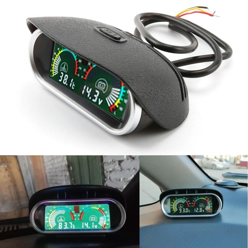 2 IN 1 LCD Car Dashboard Water Temp Gauge 10mm Sensor 12V Voltage Voltmeter
