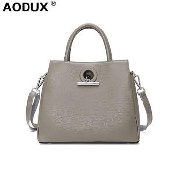 AODUX Luxury 100% Genuine Cow Leather OL Handle Bags Women  Messenger Cross Body Shoulder Cross Body Bag Top Cowhide Handbag