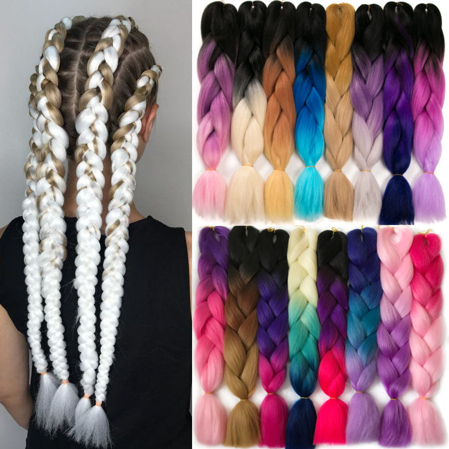 VERVES Braiding Hair 1 Piece 24inch Jumbo Braids 100g/piece Synthetic Ombre High Temperature Fiber Hair Extensions Crochet Braid