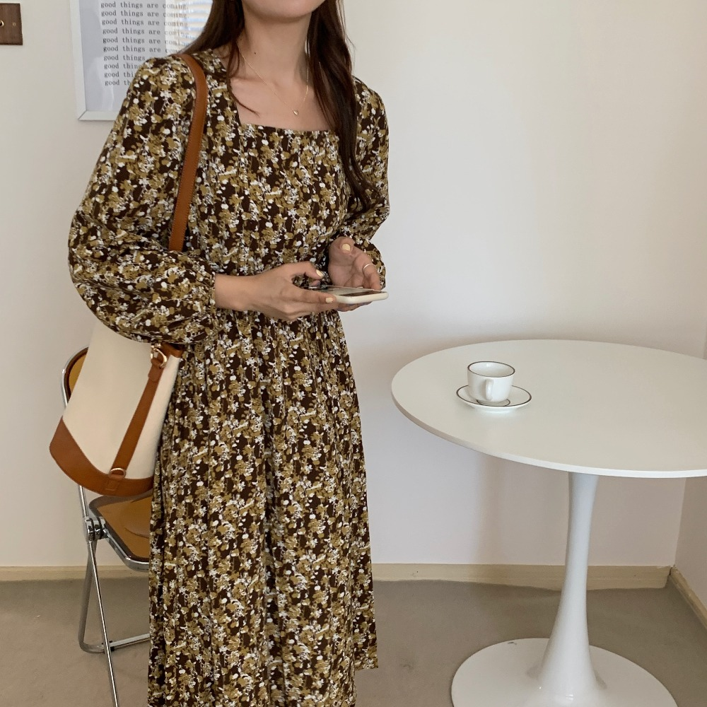 H0c06a6933ccb4cdba2e41d36da81fb65i - Autumn Square Collar Lantern Sleeves Floral Print Midi Dress