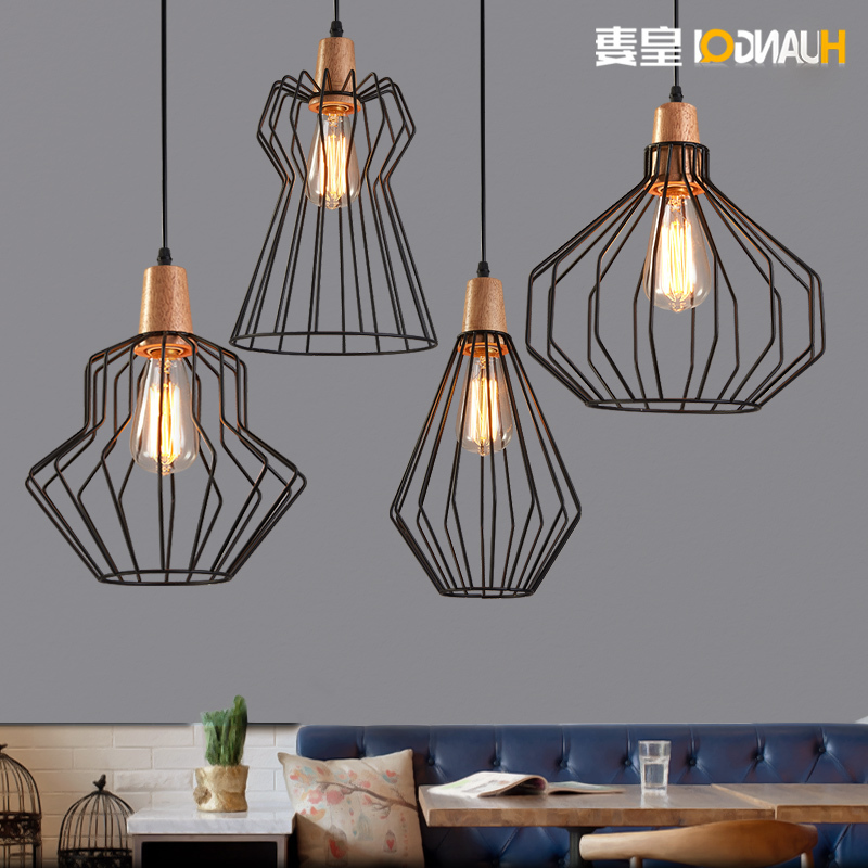 Huang's Wife Loft Dining Room Chandelier Office Bar Iron Cage Nordic Industrial Wind Bar Retro deco chambre