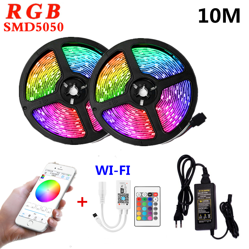 Ruban Led 10m WIFI Led Light Strip 5050 12V RGB Strips Waterproof Luces Led Lights For Room Lightings Decoration 10 Meters Set