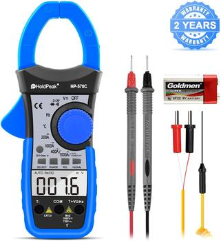 HP-570C Clamp Meter 4000 Count Auto Ranging Multimeter with AC/DC Voltage&Current,Resistance,Capacitance,Frequency,Diode,Hz Test