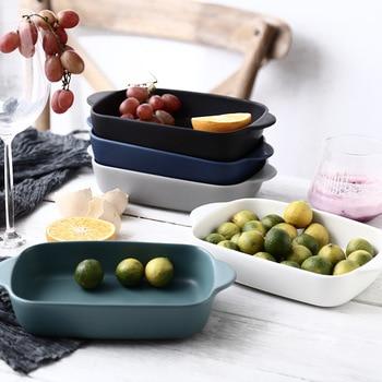 İskandinav tarzı fırın tepsisi seramik kase dikdörtgen binoral kase ev sofra fırın özel makarna lazanya pişirme kabı salata