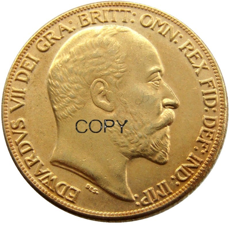 Crown Edward VII 1902 Monedas de copia chapadas en oro de 2 libras (2SLD)