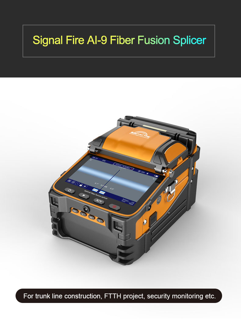 Signal Fire 5 Inch TFT Screen AI-9 Fiber Fusion Splicer FTTH Project 6 Motors Optical Power Meter VFL