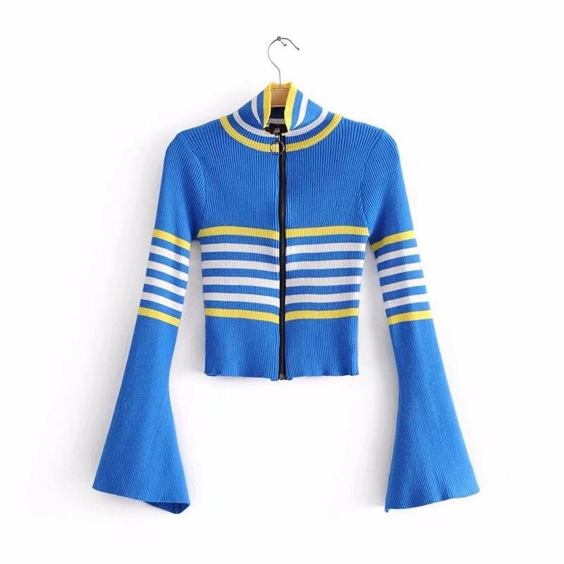 Bonjean tricoté hauts col roulé fermeture éclair hiver Cardigan décontracté chandails femmes chemise à manches longues pull serré en vrac filles
