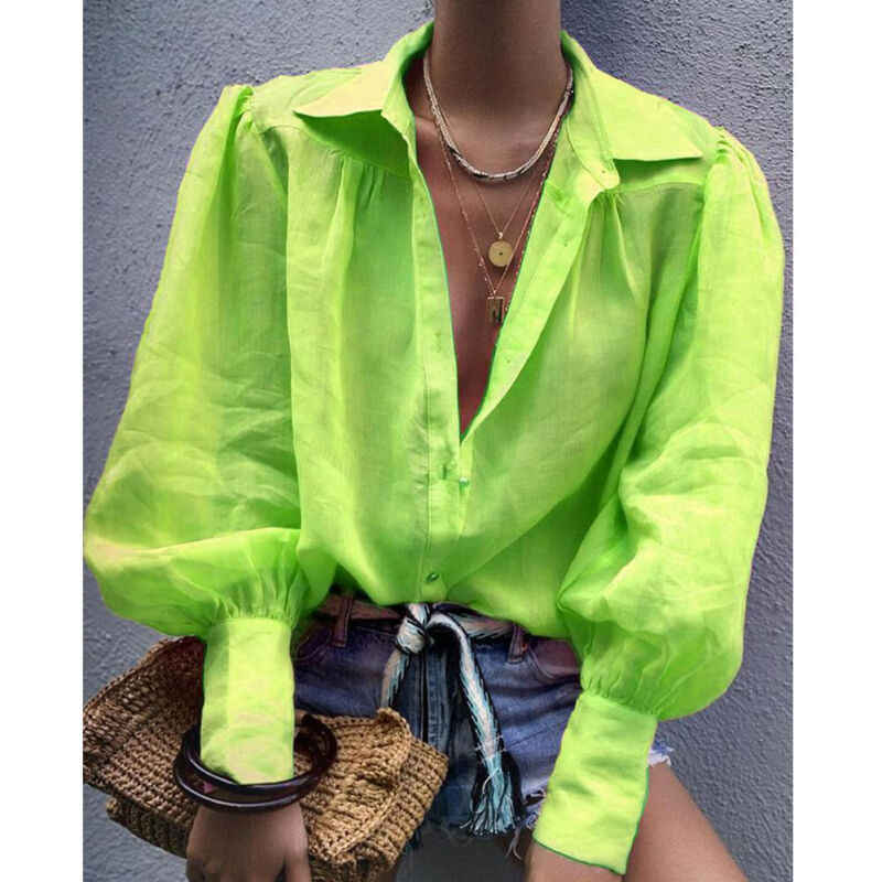 Outono Moda Feminina Longo Lanterna Luva Cor Sólida Botão Solto Turn-down Collar Office Lady Shirt T-Shirt Das Senhoras Top