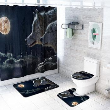 4Pcs Animal World Print Hook Shower Curtain Tiger Lion Wolf Bathtub Rug Commode Cover Bathroom Carpet Toliet Mat Tapete Banheiro