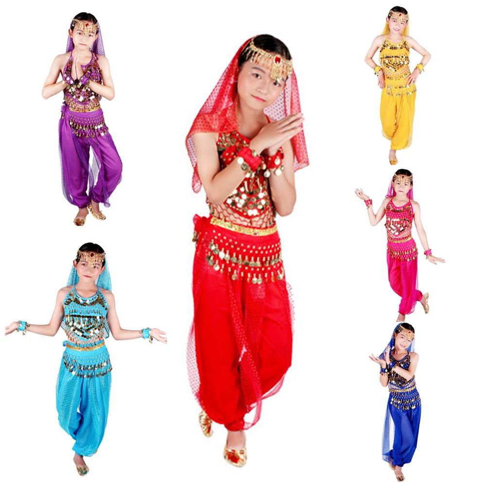 Kids Girls Belly Dance Costume Coin Tassel Halter Top Skirt Hip Scarf Set S//M//L
