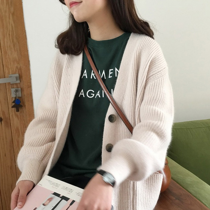 2019 Korean Winter sweater V neck Lantern sleeve cute women sweater with pocket knitted cardigan oversized Female Top in Cardigans from Women 39 s Clothing