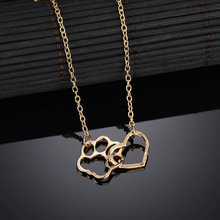 Dog Cat Foot Pet Paw Print Shape Presents&Necklace For women Stainless Steel Necklaces Statement Heart Chain Necklace SE200023