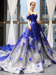 Gala-Dress Abaya Maternity-Evening-Dress Style Sequin Royal-Blue Crystal Saudi Dubai