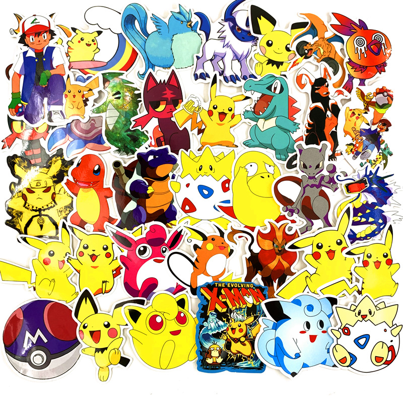 107pcs Pokemon Toy Graffiti Stickers Skateboard Mobile Phone Tablet Computer Pikachu Car Stickers