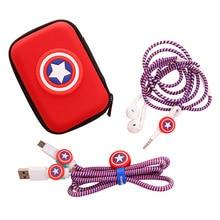 Marvel Avengers Captain America Shield Spider-Man Iron Man Batman Superman Charger Protection Cord Rope Headphone Winder