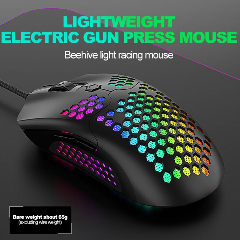M5 Hollow-out Honeycomb Shell Gaming Mouse Colorful RGB Backlit Light Wired Mice With 7 Buttons For Game Lovers