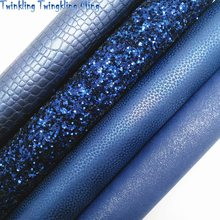 A tela azul marinho do brilho, tela do falso do crocodilo, folhas sintéticas metálicas da tela do couro para a curva a4 21x29cm cintilando ming xm772
