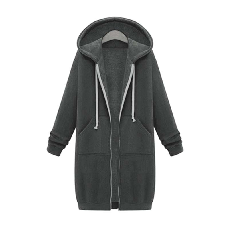 Осень зима 2020 длинные толстовки на молнии пальто для женщин