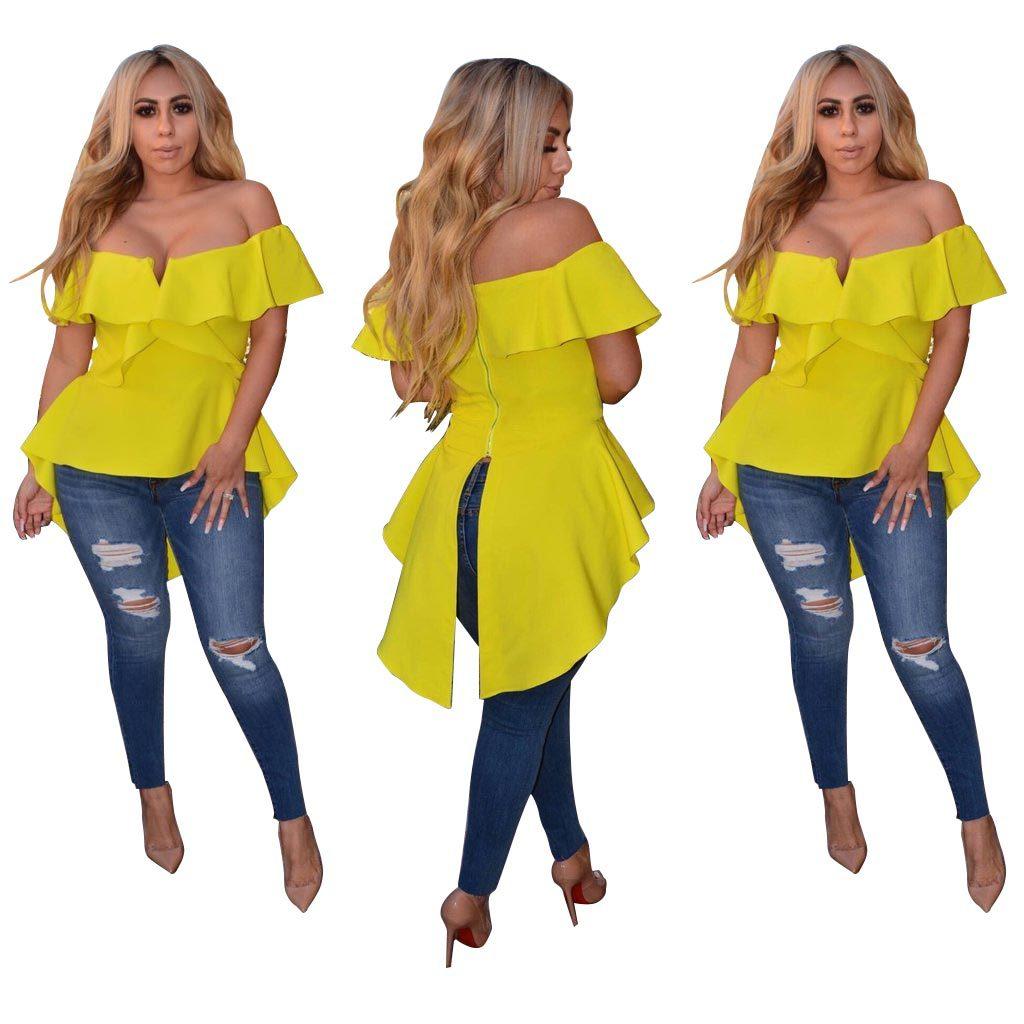 Bonito verano mujeres marea de hombro volantes camisetas larga Casual manga corta Camiseta moda Slash cuello partes - 2