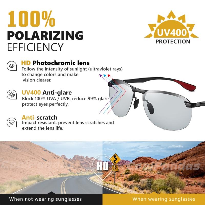 2020 Brand Photochromic Men Sunglasses Polarized Glasses Day Night Vision Driving Sun Glasses For Male Oculos De Sol Masculino 2