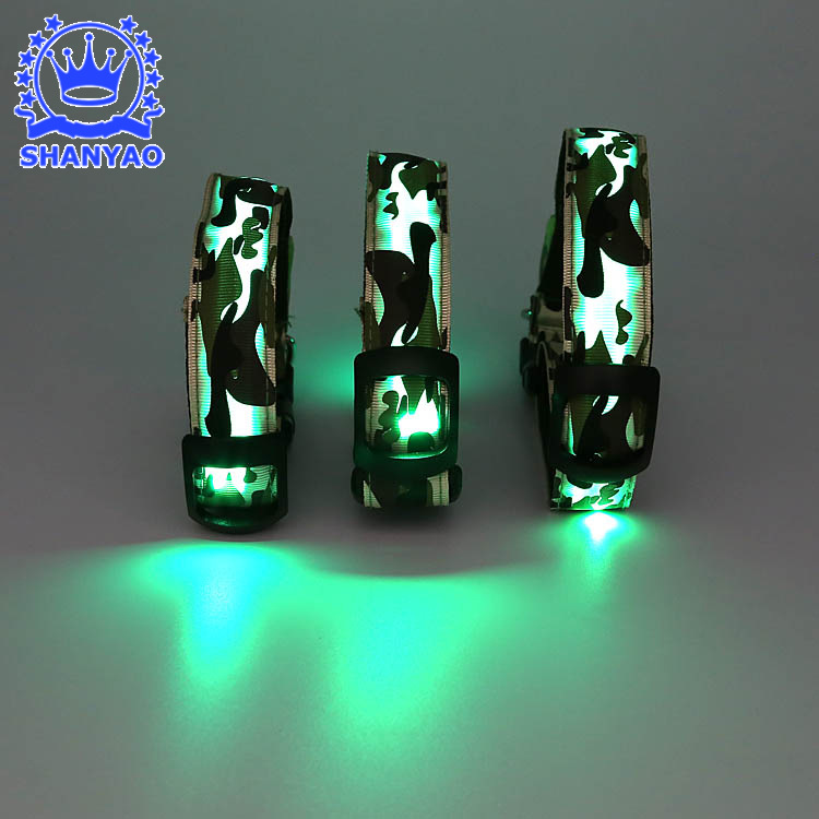 Shine Supply Of Goods LED Luminous Dog Collar Christmas Gift Night Light Bite-proof Protector Camouflage Pet Supplies