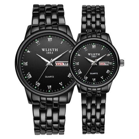 Relógio de Aço Relógios de Pulso para Homens Wlisth Casal Inoxidável Data Semana Luminosa Moda Amantes Relógio Presente Quartzo 2020 Mod. 129047
