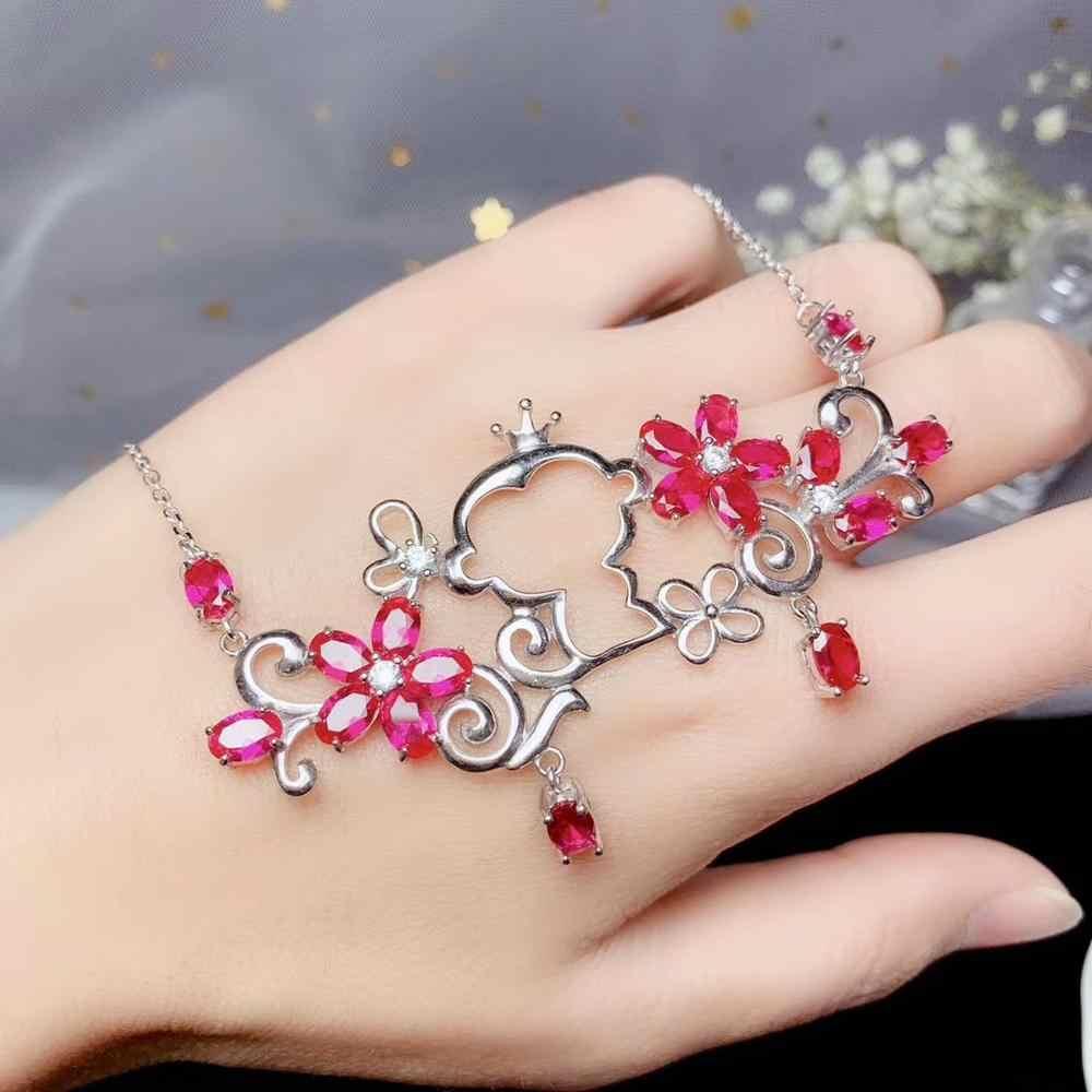 Счастливого Рождества подарок Обезьяна цветок Форма красный корундовое ожерелье девушка ожерелье 925 серебро Сертифицированный настоящий натуральный камень подарок ребенку