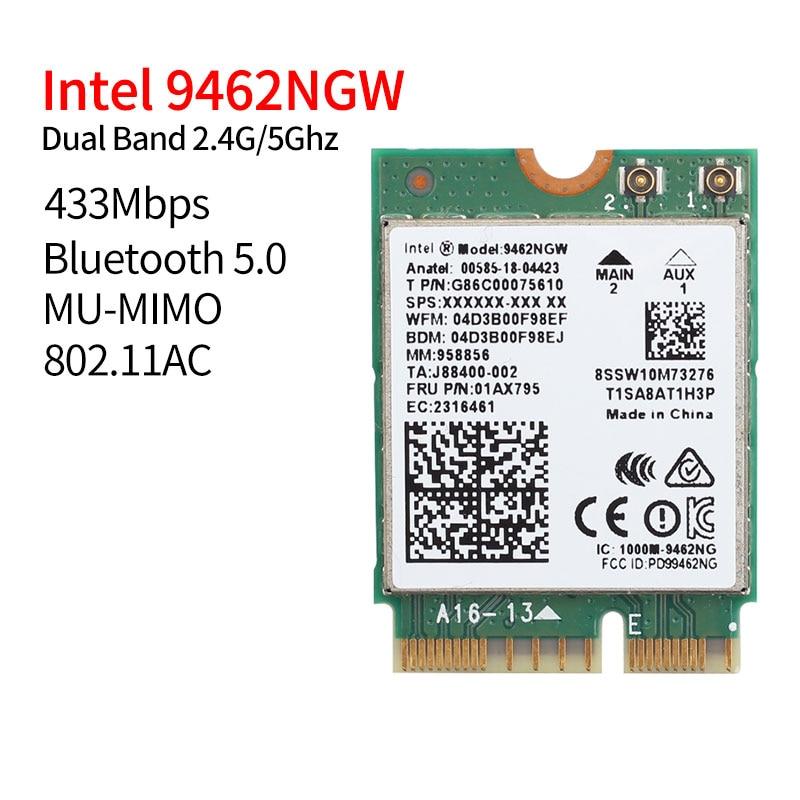 Dual Band 433Mbps Wireless For Intel AC 9462 9462NGW NGFF Key E Wifi Card 9462AC 8020.11ac Bluetooth 5.0 Laptop For Windows 10