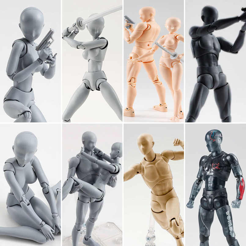 15cm Figuarts Japanese Anime BODY KUN / BODY CHAN Joint Movable Body PVC Action Figure Toys Anime drawing figures Model Toy gift