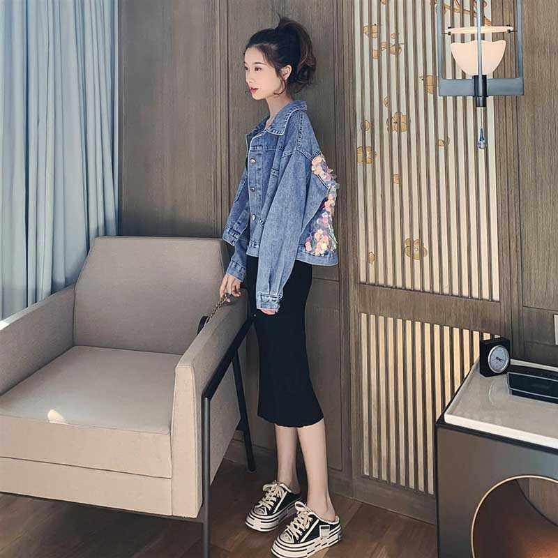Nicemix 2019 春の新デニムコート生き抜く女の子スパンコール長袖ジーンズジャケット学生ゆるいジーンズジャケット ba