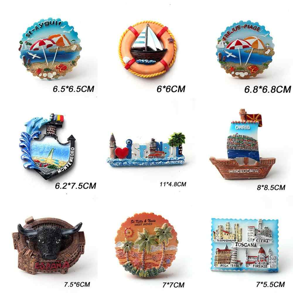 3D Norvegia Attrazioni Frigorifero Magnete Frigo Souvenir turistici Mestiere in Resina Fatti a Mano Adesivi magnetici Casa Cucina Decorazione Regalo di Viaggio