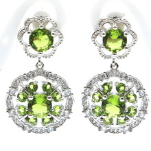 Elegant Green Peridot, White CZ Ladies Womans  925 Silver Earrings 30x10mm