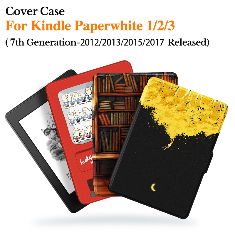 PU Leather Magnetic Case For Funda Kindle Paperwhite 1/2/3 EReader (7th Gen2012/2013/2015/2017 Release) Auto Sleep/Wake Cover