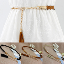 Vintage Elegent Belts For Women Fashion Metal Chain Waist Rope Ladies Hollow Waistband Solid Color Belt Thin Dress Decor Belts