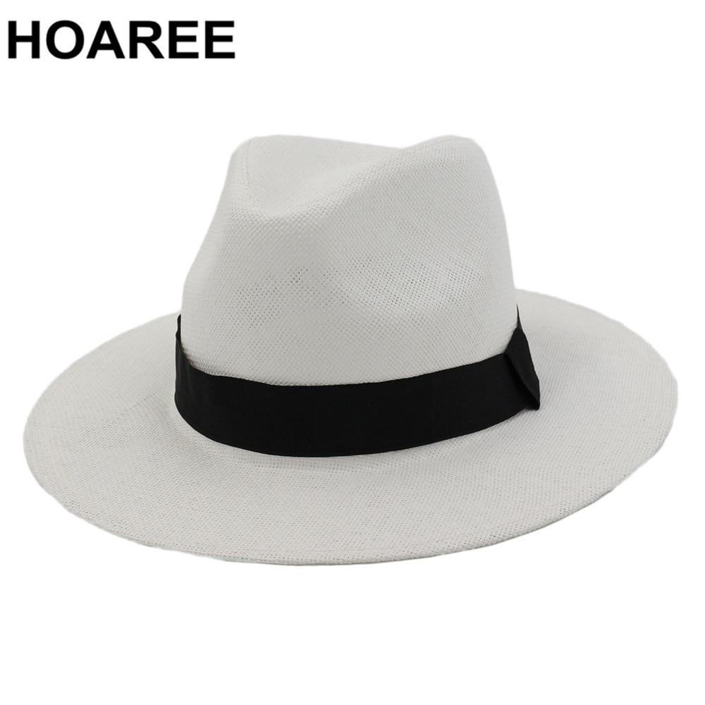 HOAREE Sommer Sonne Hüte für Frauen Mann Klassische Panama Hut Strand Strohhut für Männer UV Schutz Kappe Weiß Sonnenhut chapeau Sombrero