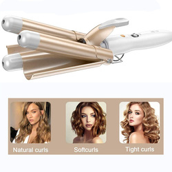 25mm en céramique Triple baril bigoudis femmes cheveux fer à friser Styler cheveux Waver baguette outils de coiffure ue Plug bricolage coiffure