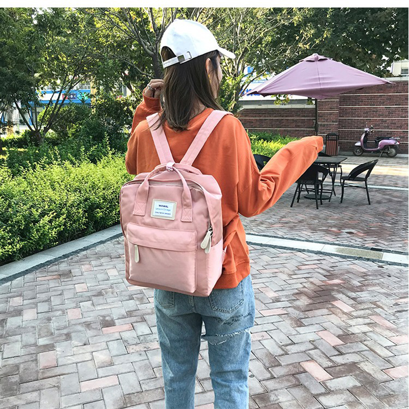 Fashion Simple Wild Lady Backpack College Campus Backpack Computer Bag Travel Pink Backpack