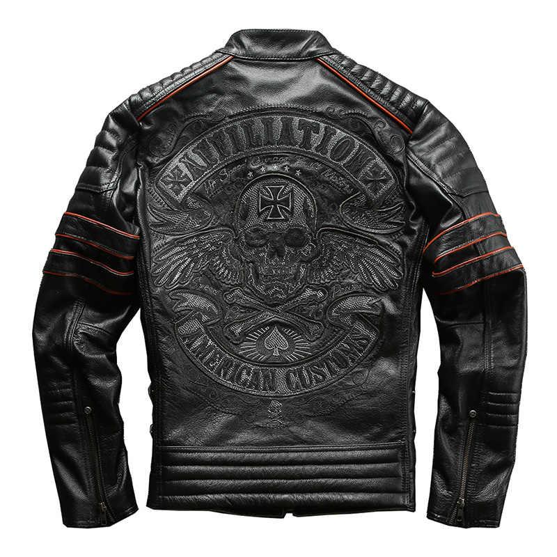 Афф6 прочитайте описание! Азиатский размер rider куртка мужская кожаная куртка Мужская Натуральная Воловья кожа вышивка череп кожаная куртка