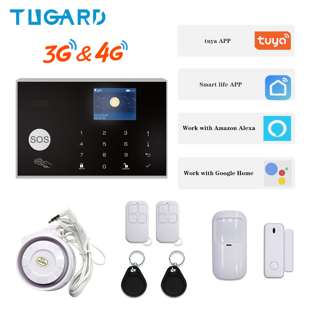 Fast Shipping In Spain IOS Android APP Control Wireless Home Burglar WIFI 3G&4G Alarm System Auto Dial Siren Alarm System Kit