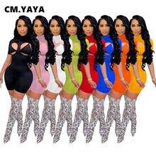 CM.YAYA wyciąć Playsuit Bodycon pajacyki dla kobiet kombinezon z krótkim rękawem z biustonoszem Sexy Club Party aktywny strój na lato