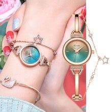 цена на Kimio Rose Gold Quartz Watch Women Clock Luxury Brand Stainless steel Bracelet watches Ladies Dress Crystal Wristwatches relogio