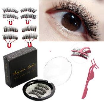 2 pair of 3D magnetic eyelashes handmade Mink eyelashes eye makeup extended false eyelashes repeated use magnetic fake eyelashes