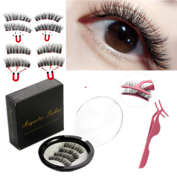 2 pairs of 3D magnetic eyelashes  handmade  Mink eyelashes eye makeup extended false eyelashes repeated use false eyelashes