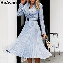 BeAvant Double breasted office dress women Elegant a line sashes plaid blazer dresses female Long sleeve pleated ladies vestidos