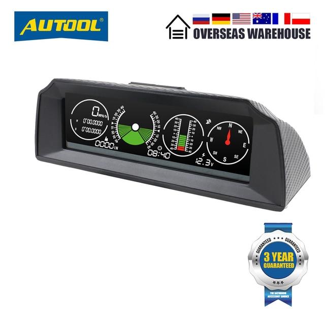 Autool x90 gps hud inclinômetro medidor de inclinação velocidade do carro auto 12v geral head up display com inclinação ângulo passo transferidor latitude